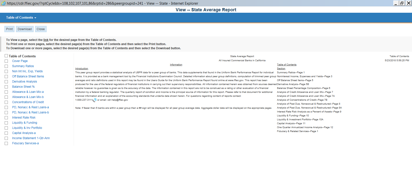 State Average Report Cover Page